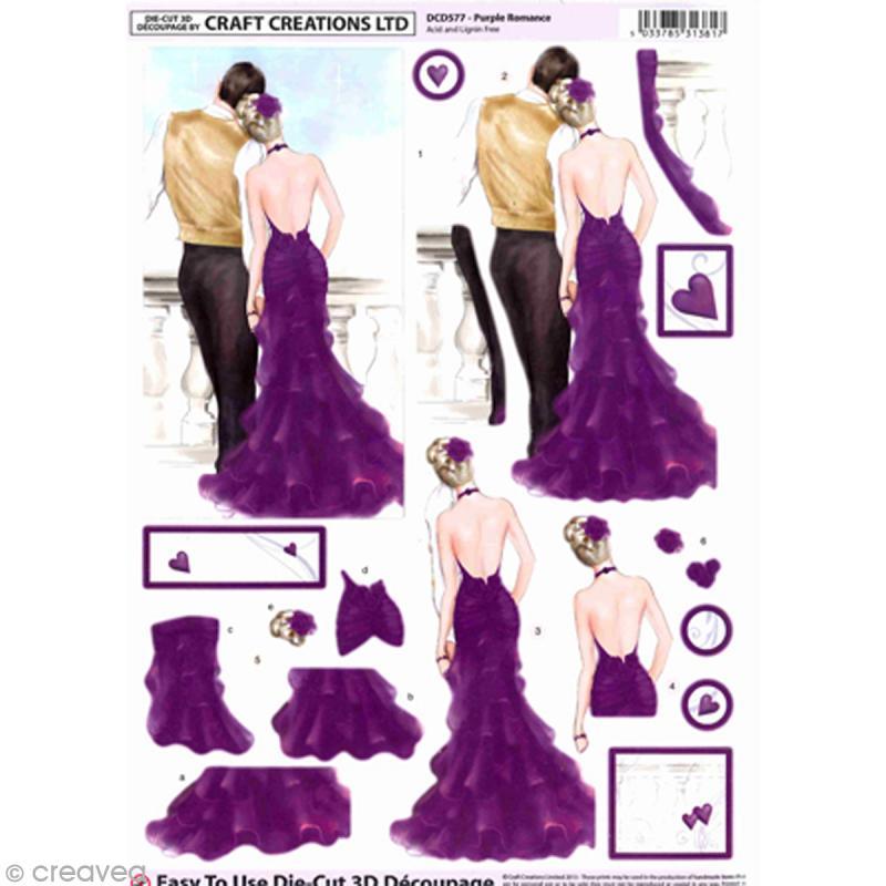 Carte 3D pré-découpée - Couple robe mauve - 21 x 29,7 cm - Photo n°1