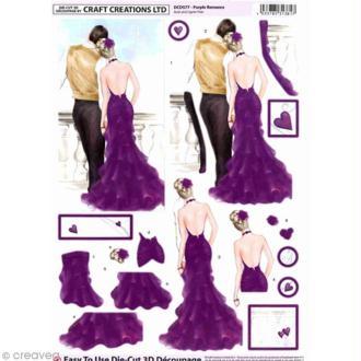 Carte 3D pré-découpée - Couple robe mauve - 21 x 29,7 cm