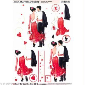 Carte 3D pré-découpée - Couple robe rouge - 21 x 29,7 cm