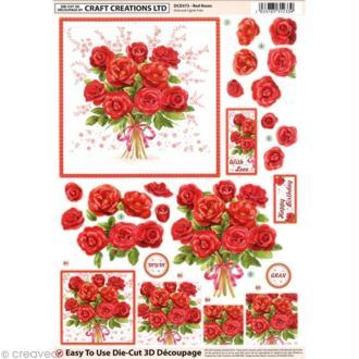 Carte 3D pré-découpée - Bouquet de roses - 21 x 29,7 cm