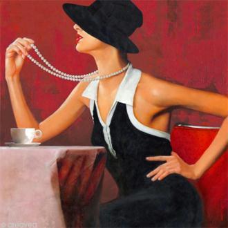Image 3D Femme - Femme collier de perles 40 x 40 cm