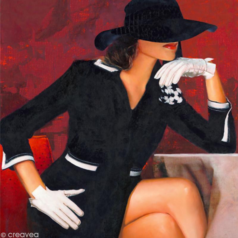 Image 3D Femme - Femme gants blancs 40 x 40 cm - Photo n°1