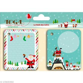 Etiquette pour cadeau Noël - Le Noël des lutins x 20