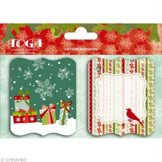 Etiquette pour cadeau Noël - Forêt enchantée x 20