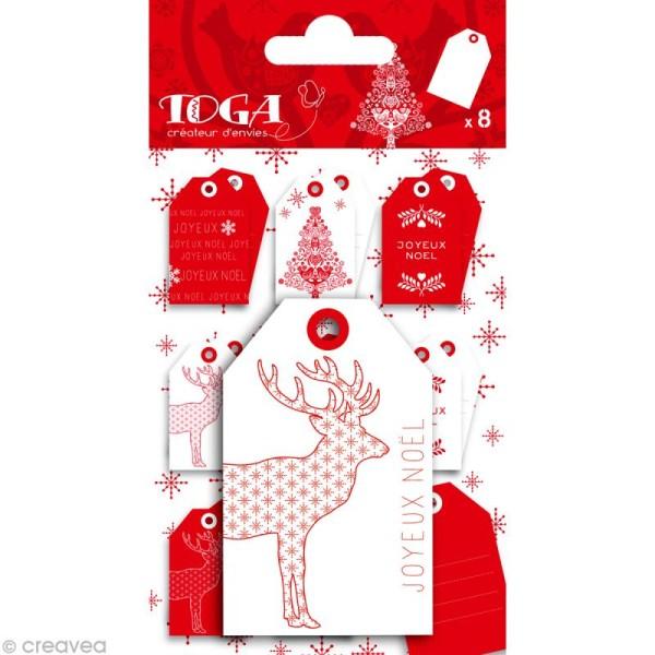 Tag scrap Noël - Noël scandinave x 8 pièces - Photo n°1