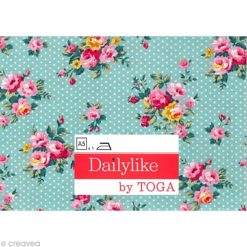 Dailylike Bleu pois fleuris - Tissu thermocollant A5 - Photo n°2
