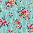 Dailylike Bleu pois fleuris - Tissu thermocollant A5 - Photo n°1