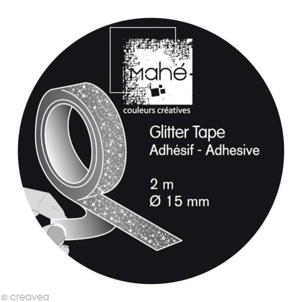 Glitter tape Mahé - Argent x 2 m - Photo n°2