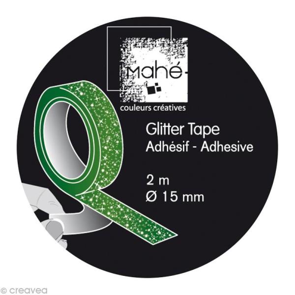 Glitter tape Mahé - Vert x 2 m - Photo n°2