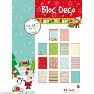 Papier scrap P'tit Bloc Le Noël des lutins 15 x 20 cm - 28 feuilles