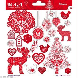 Stickers Noël scandinave Toga - 2 planches de 15 x 15 cm