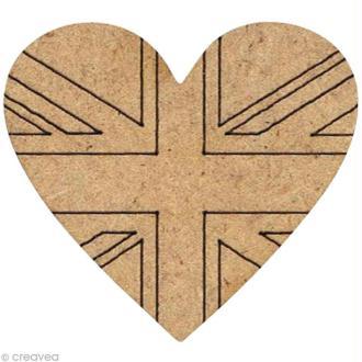 Forme en bois Londres - Coeur drapeau GB - 3 cm