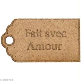 Forme en bois Divers - Etiquette gravée Fait avec amour - 3 cm