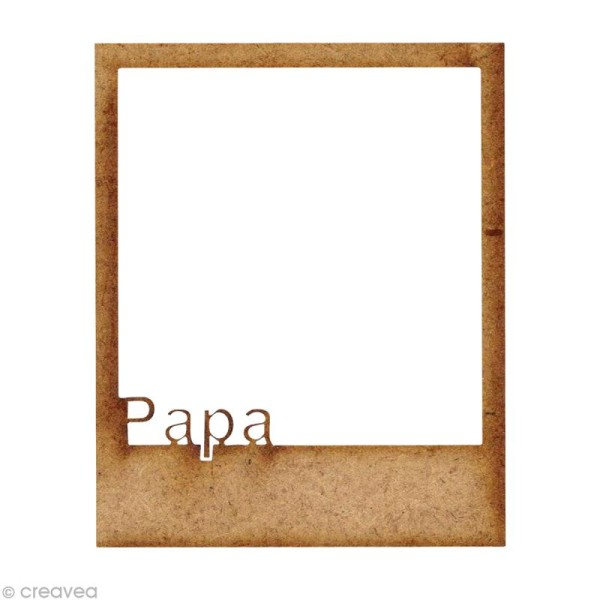 Forme en bois Petits Polaroïds - Petit papa - 5,9 cm - Photo n°1