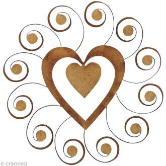 Forme en bois Divers - Coeur volute - 5,2 cm