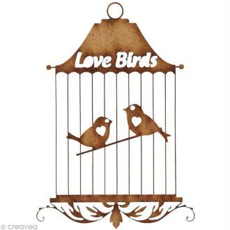 Forme en bois Divers - Cage oiseau love birds - 8 cm