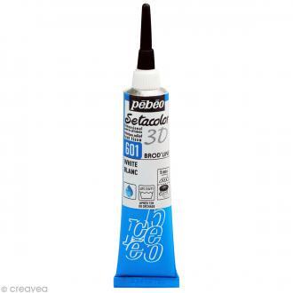 Peinture tissu Setacolor 3D - Brod'line Daim - Blanc - 20 ml