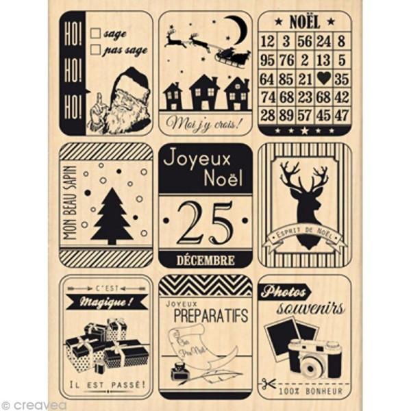Tampon Noël December Daily - Neuf étiquettes de noël - 10 x 13 cm - Photo n°1