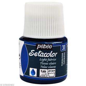 Peinture tissu Setacolor Pébéo - Tissus clairs - Turquoise - 45 ml