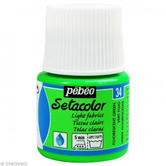 Peinture tissu Setacolor Pébéo - Tissus clairs - Vert Fluo - 45 ml