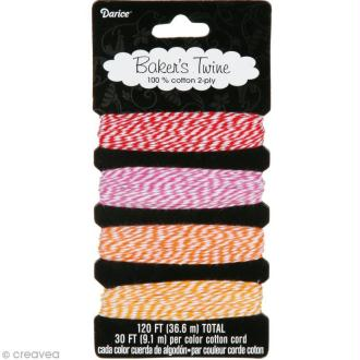 Ficelle Baker's twine - Assortiment Candylane - 4 x 9,1 m
