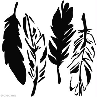 Pochoir scrapbooking 30 x 30 cm - 4 plumes (4 feathers)