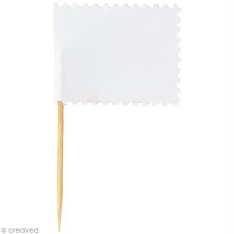 Mini fanion rectangulaire en papier Blanc - 7,5 x 4,5 cm - 10 pcs
