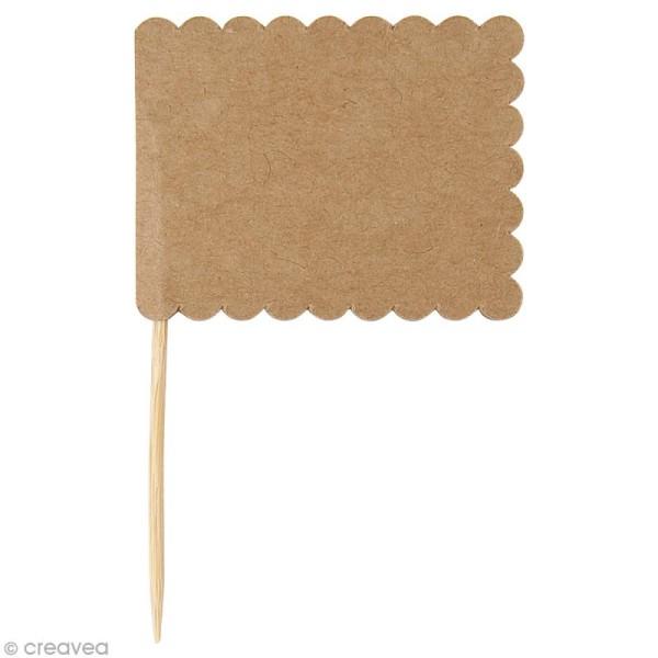 Mini fanion rectangulaire en papier Kraft - 7,5 x 4,5 cm - 10 pcs - Photo n°1