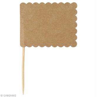 Mini fanion rectangulaire en papier Kraft - 7,5 x 4,5 cm - 10 pcs