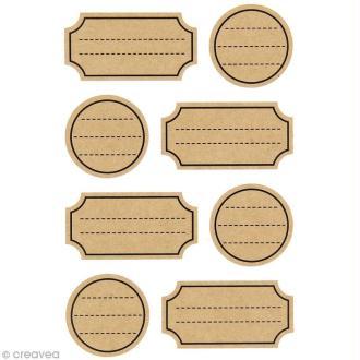 Autocollants kraft - Mini étiquettes avec lignes - 32 pcs