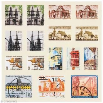 Sticker timbre décoratif - Ville - 96 autocollants