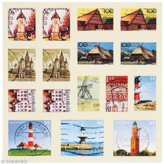 Sticker timbre décoratif - Nature - 96 autocollants