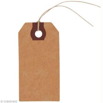 Etiquettes kraft 9 x 4,5 cm avec ficelle - 9 pcs