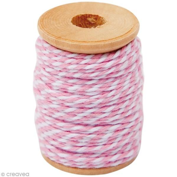 Ficelle bicolore coton Rose 1 mm x 15 m - Photo n°1