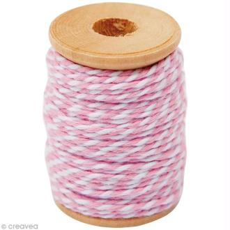 Ficelle bicolore coton Rose 1 mm x 15 m