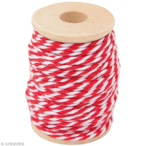 Ficelle bicolore coton Rouge 1 mm x 15 m - Photo n°1