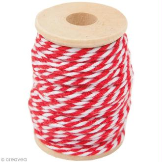 Ficelle bicolore coton Rouge 1 mm x 15 m
