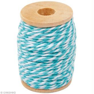 Ficelle bicolore coton Bleu turquoise 1 mm x 15 m