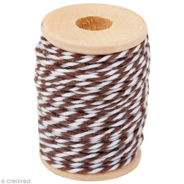 Ficelle bicolore coton Marron 1 mm x 15 m - Photo n°1