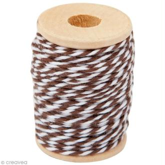 Ficelle bicolore coton Marron 1 mm x 15 m