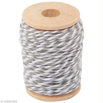 Ficelle bicolore coton Gris 1 mm x 15 m