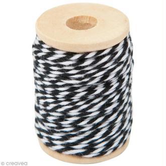 Ficelle bicolore coton Noir 1 mm x 15 m