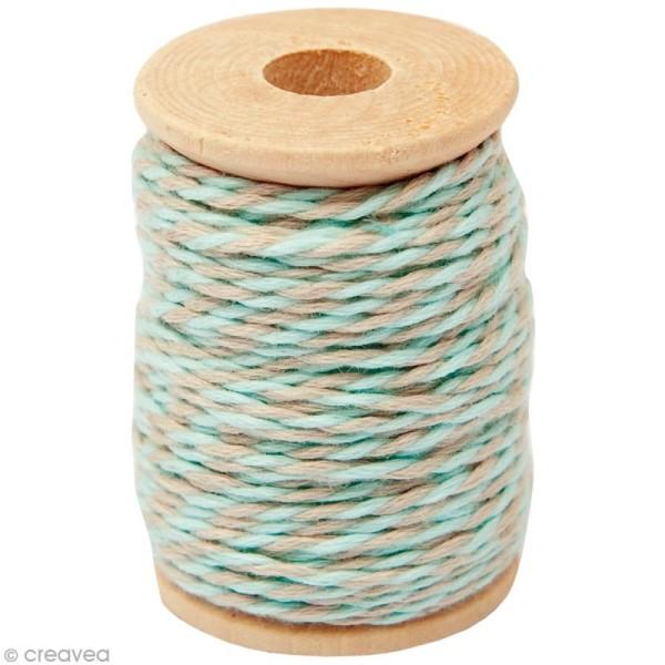 Ficelle bicolore coton Beige sable / Vert d'eau 1 mm x 15 m - Photo n°1