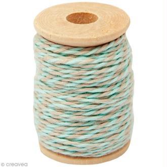Ficelle bicolore coton Beige sable / Vert d'eau 1 mm x 15 m