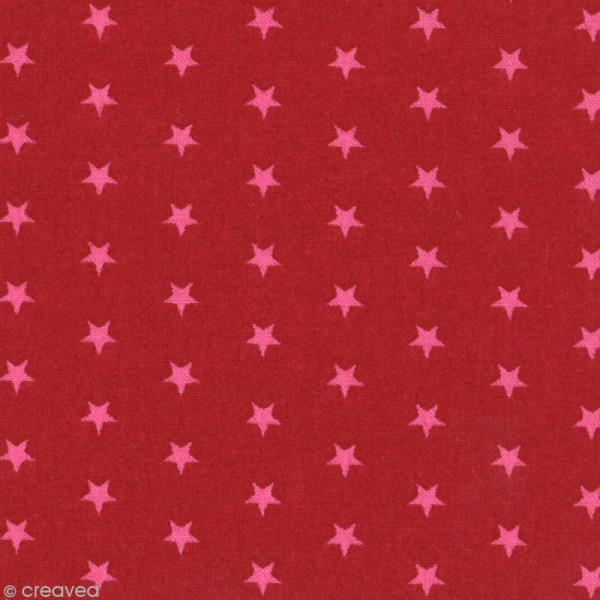 Tissu Frou Frou Rubis éclatant - Etoile (108) - A la coupe par 10 cm (sur mesure) - Photo n°1