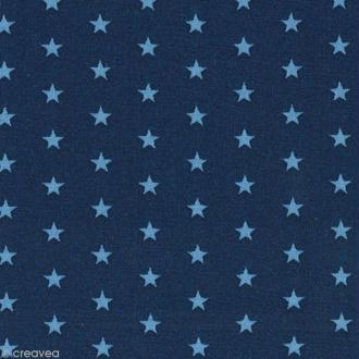 Tissu Frou Frou Bleu intense - Etoile (110) - A la coupe par 10 cm (sur mesure)