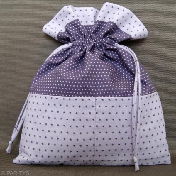 Tissu Frou Frou Violet sage - Pois (204) - A la coupe par 10 cm (sur mesure) - Photo n°2