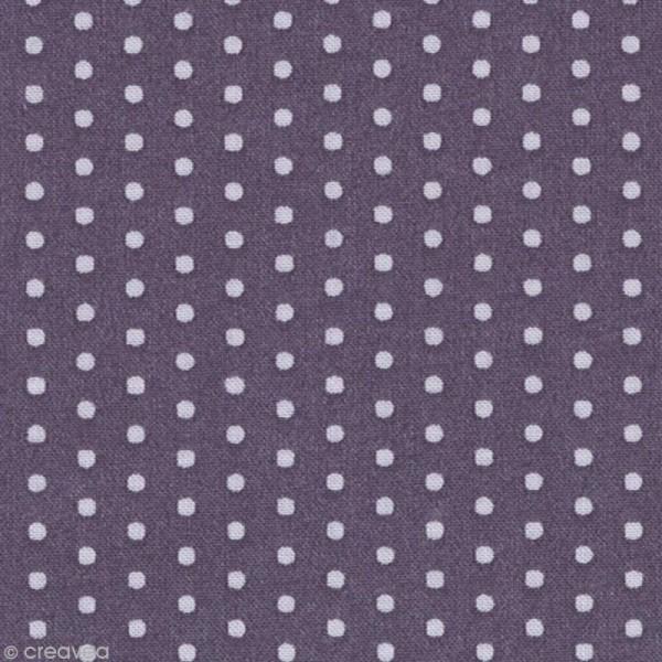 Tissu Frou Frou Violet sage - Pois (204) - A la coupe par 10 cm (sur mesure) - Photo n°1