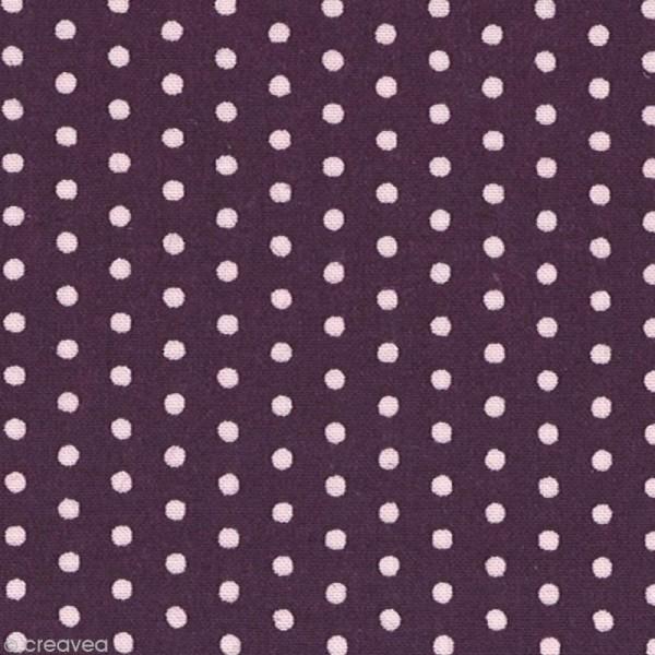 Tissu Frou Frou Prune délicate - Pois (206) - A la coupe par 10 cm (sur mesure) - Photo n°1