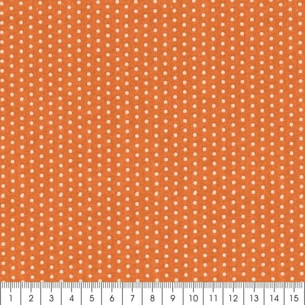 Tissu Frou Frou Douceur mandarine - Pois (209) - A la coupe par 10 cm (sur mesure) - Photo n°2